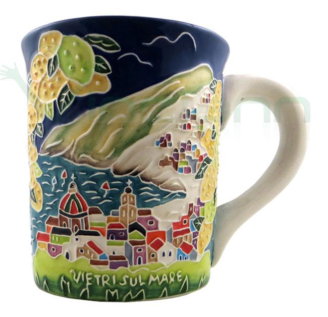 Tazza bicchiere ceramica Paesaggio Vietri Costiera Amalfitana ...
