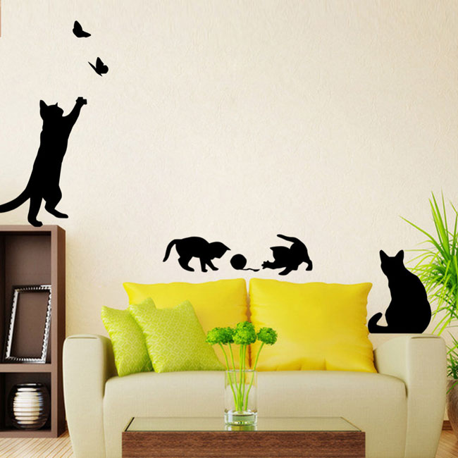 Wall sticker adesivo parete pianoforte musica gatti decorazione camera bimbi